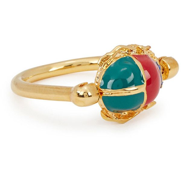 MFP-MariaFrancescaPepe The Eternity Scarab 23kt Gold-plated Ring ($175) ❤ liked on Polyvore featuring jewelry, rings, pendant jewelry, gold plated pendants, engraved rings, engraved pendants and maria francesca pepe