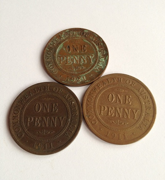 Australian Penny Coins 1911 and 1921 collectables, steampunk supplies or for jewellery by Cyclopaedia