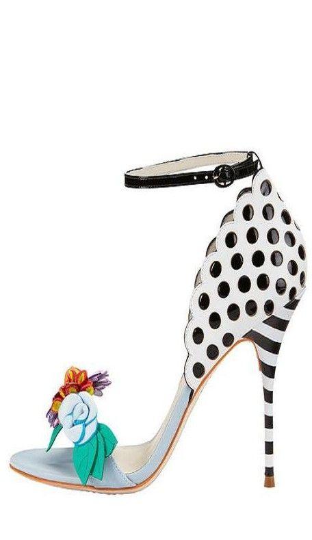 Sophia Webster ~ Open Toe Ankle Strap Stiletto Heels, White/Black