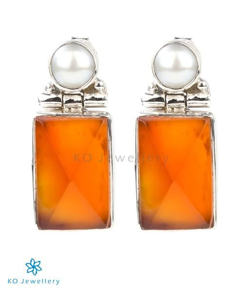 The Chaya Silver Gemstone Earrings(Orange)
