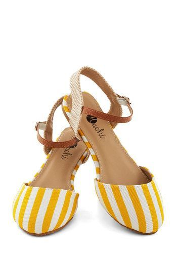 Yellow And White Stripes Sandals #shoes