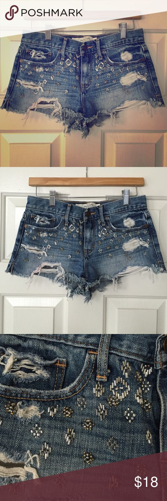Abercrombie & Fitch Distressed Embellished Shorts Gently Preloved Abercrombie & Fitch Shorts Jean Shorts