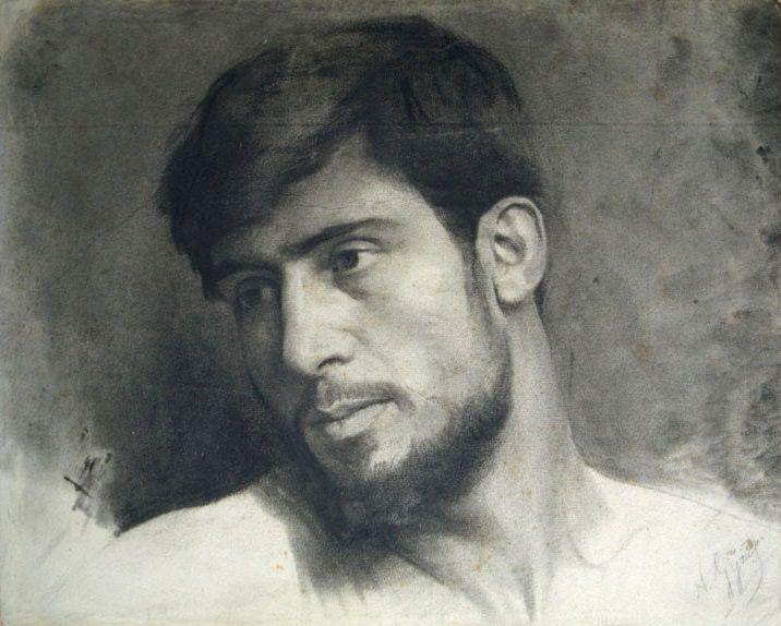 Nikolaos GYZIS. Portrait of a young man [charcoal on paper], circa 1890.