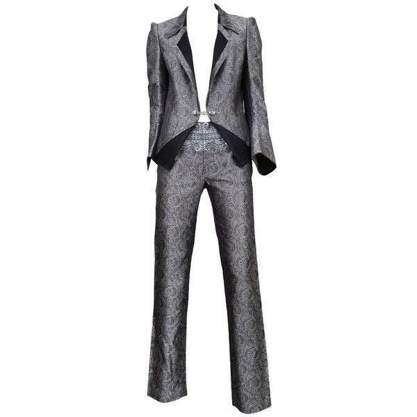Preowned Balenciaga Silver Paisely Blazer & Pants Suit 2006 (€1.700) ❤ liked on Polyvore featuring suits, suit, silver and trouser pant suits