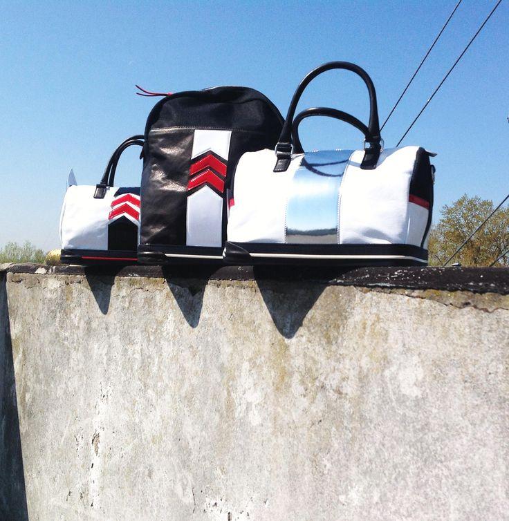 Black and white leather #bags - The Sneakebag - #borse e #zaino della collezione #sneakebag con fondo in gomme stile #sneaker
