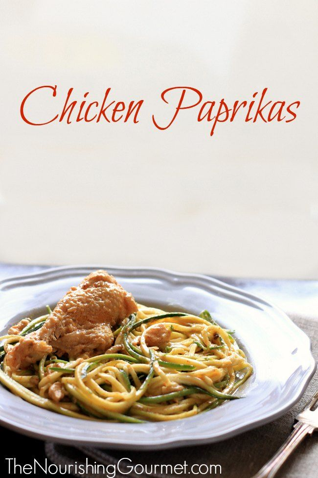 Chicken Paprikas is a flavorful, creamy comfort food! Serve over noodles of choice, including zucchini noodles for a lovely grain-free version. It's also dairy free!