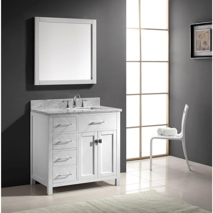 Virtu USA Caroline Parkway 36 in. Single Vanity in White with Marble Vanity Top in Italian Carrara and Mirror