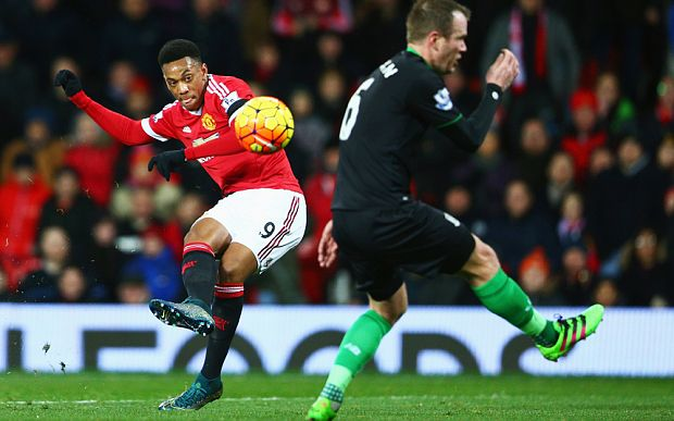 Manchester United 3 Stoke City 0: United's young talent Antony Martial scores his team's second goal