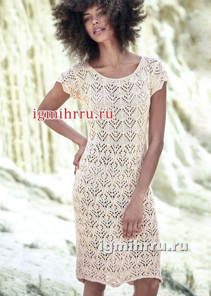 Ажурное летнее платье из чистого хлопка. Вязание спицами