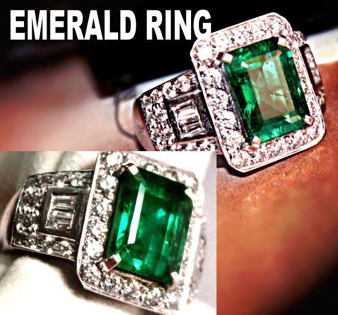 53.34 TCW Natural Estate Green Zambia Emerald 18k Gold diamond Ring Certified  #zales #Cocktail #Anniversarywedddingbirthday