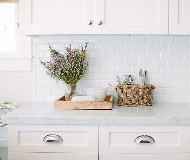 Inspiration White Cabinets Carrara Counter Tops With A Beveled Tile Backsplash Kitchen Marble And Subway