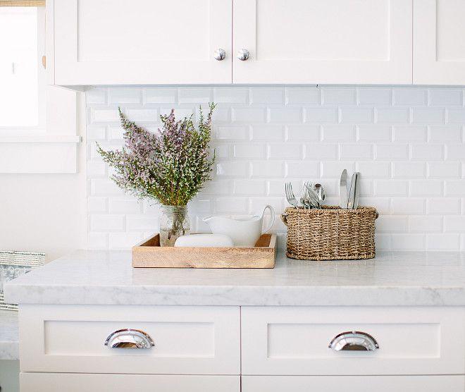 inspiration white cabinets carrara counter tops with a beveled tile backsplash kitchen carrara marble and beveled white subway - White Subway Tile Kitchen Backsplash