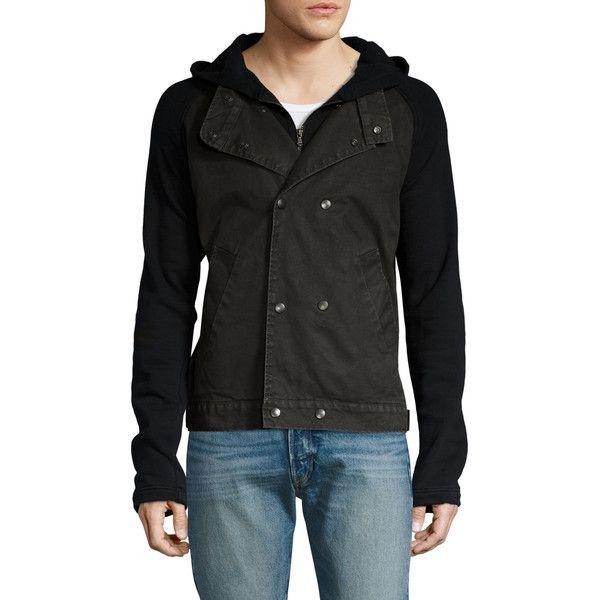 Joe's Jeans Men's Fleece Raglan Denim Jacket - Size L (590 BRL) ❤ liked on Polyvore featuring men's fashion, men's clothing, men's outerwear, men's jackets, no color, mens hooded jean jacket, mens double breasted jacket, mens hooded jackets, mens full zip fleece jacket and mens leather sleeve denim jacket