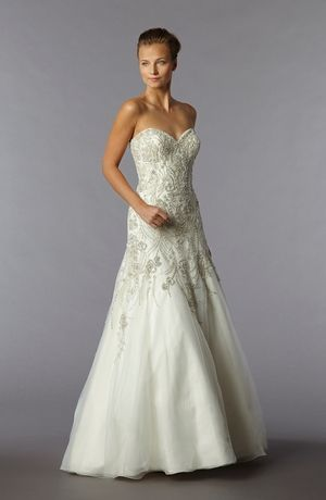 Sweetheart A-Line Wedding Dress  with Dropped Waist in Beaded Embroidery. Bridal Gown Style Number:3277716