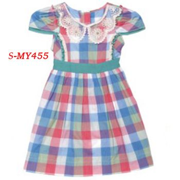 Fashion cap sleeve cotton grid girl kid dress clothes for 2-14y  contact:moon01@moonyao.com   #KidsClothing #GirlsClothing #BabyClothing #KidsWear  #Pants #Trousers
