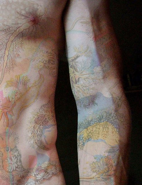 ok this probably one of the coolest tattoos ive ever seen just because its so faded, it looks like someone did a watercolor painting on his skin