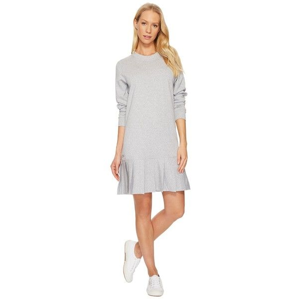 Lacoste Crepe Non Brushed Fleece Sweater Dress w/ Pleated Bottom... (645 RON) ❤ liked on Polyvore featuring dresses, white silver dress, long-sleeve sweater dresses, white pleated dress, silver long sleeve dress and pleated dress