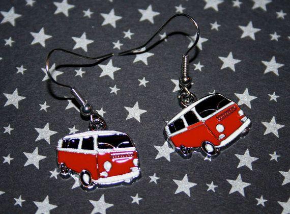 Bay Window Bus Earrings  Red by BombshellKitty on Etsy, $6.00