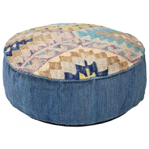 Southwestern Blue Aztec Design Ottoman Pouf
