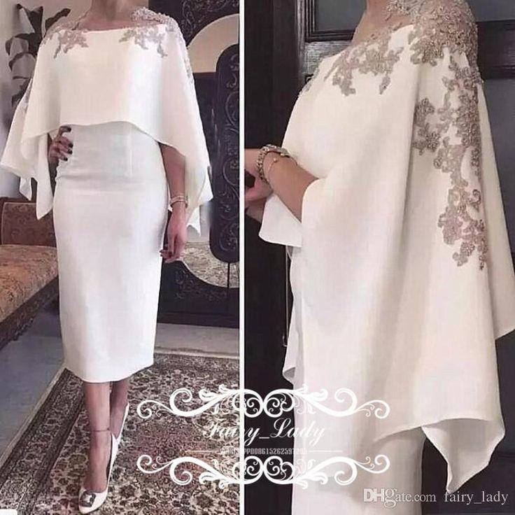 2018 Cape Schal Halbarm Mutter der Braut Kleider Mit Applikationen Weißer Tee L …