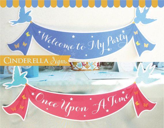 Cinderella Signs Banners for Cinderella Birthday. DIY by Popobell