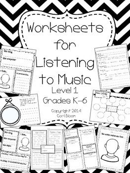 Music Listening Worksheets, Level One (for purchase, but looks really good)
