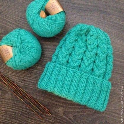 Шапочка из альпаки с мериносом бирюзово-зеленого цвета - морская волна