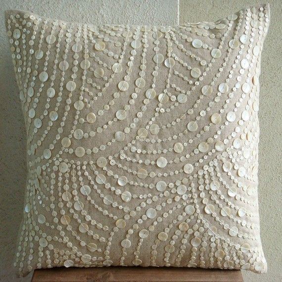 Throw Pillow Covers Accent Pillow Decorative Pillow Couch Sofa Pillow 16x16 Inches Cotton Linen Pillow Cover Mother Of Pearl Dreams N Pearls...