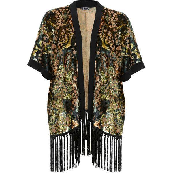 Miss Selfridge Petites Burnout Fringe Kimono ($35) ❤ liked on Polyvore featuring cardigans, kimonos, miss selfridge, dark green and petite