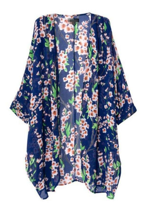Blue Long Floral Kimono