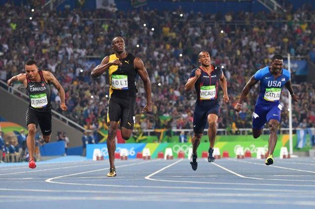 14 août 2016 - JO RIO - Usain Bolt gagne l'or au 100 m, le bronze pour Andre De…