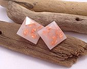 Romantically faceted milky white eco-resin square/diamond earrings with copper leaf. Allergy-friendly surgical steel findings.