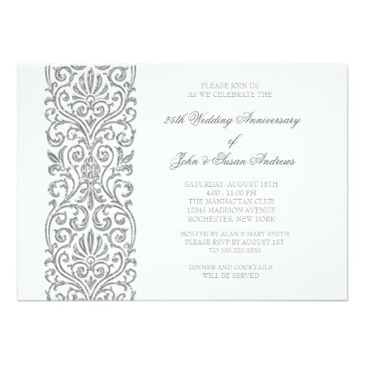 274 best wedding anniversary party invitations images on pinterest silver border 25th wedding anniversary party card filmwisefo Gallery