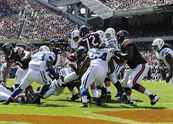 Michael Bush #29 of the Chicago Bears scores a touchdown against the Indianapolis Colts on September 9, 2012 during their 2012 NFL season opener at Soldier Field in Chicago, Illinois.