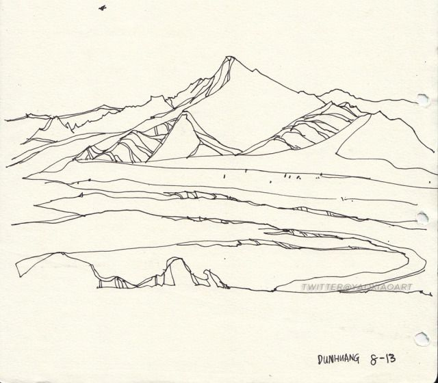 Line drawing of bare mountains in Dunhuang, China. 2011.