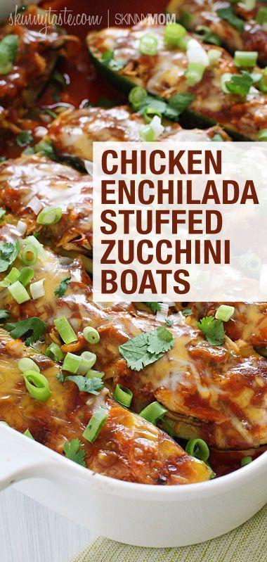 Chicken Enchilada Stuffed Zucchini Boats | Apple cider ...