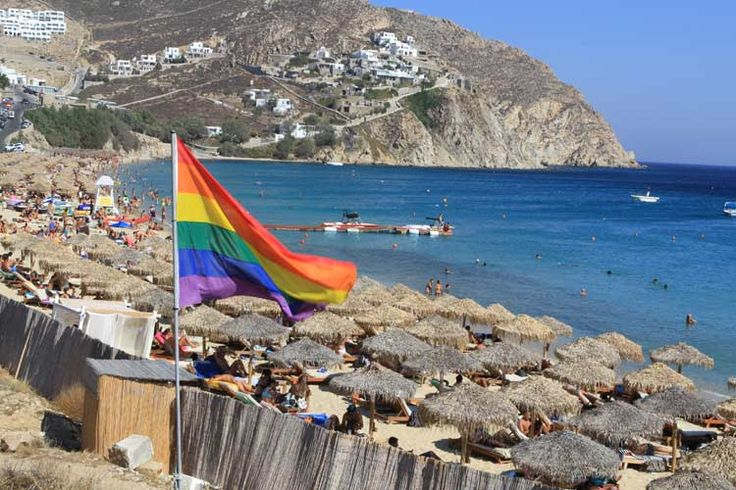 Elia Beaches. One of the most beautiful beaches on the island with white sand, easy access and a good word to describe it would be 'Gay friendly', Mykonos, Greece