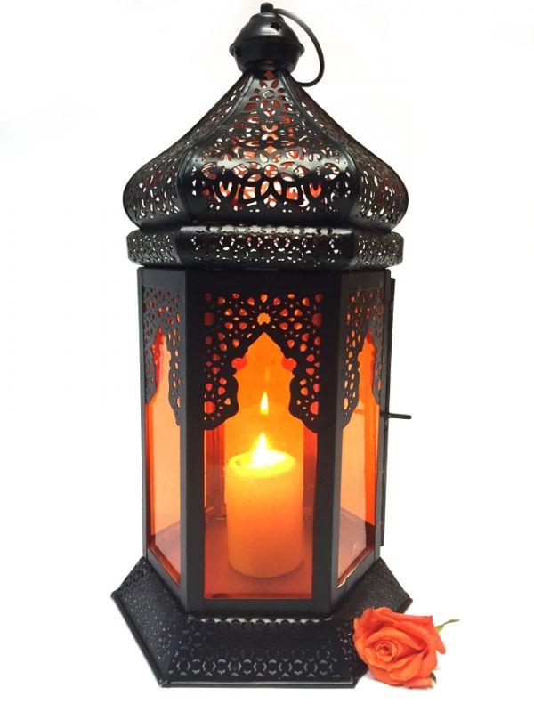 Orientalische Laterne Yesim Orange | Aus Glas & Metall | Laternen & Windlichter |