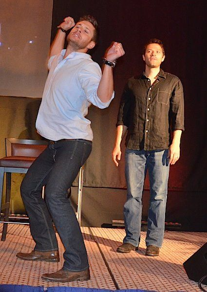"""Jensen Ackles """"dancing"""" ~ Work it like you own it! ~ Misha Collins in the background, Dean Winchester & Castiel, Supernatural"""