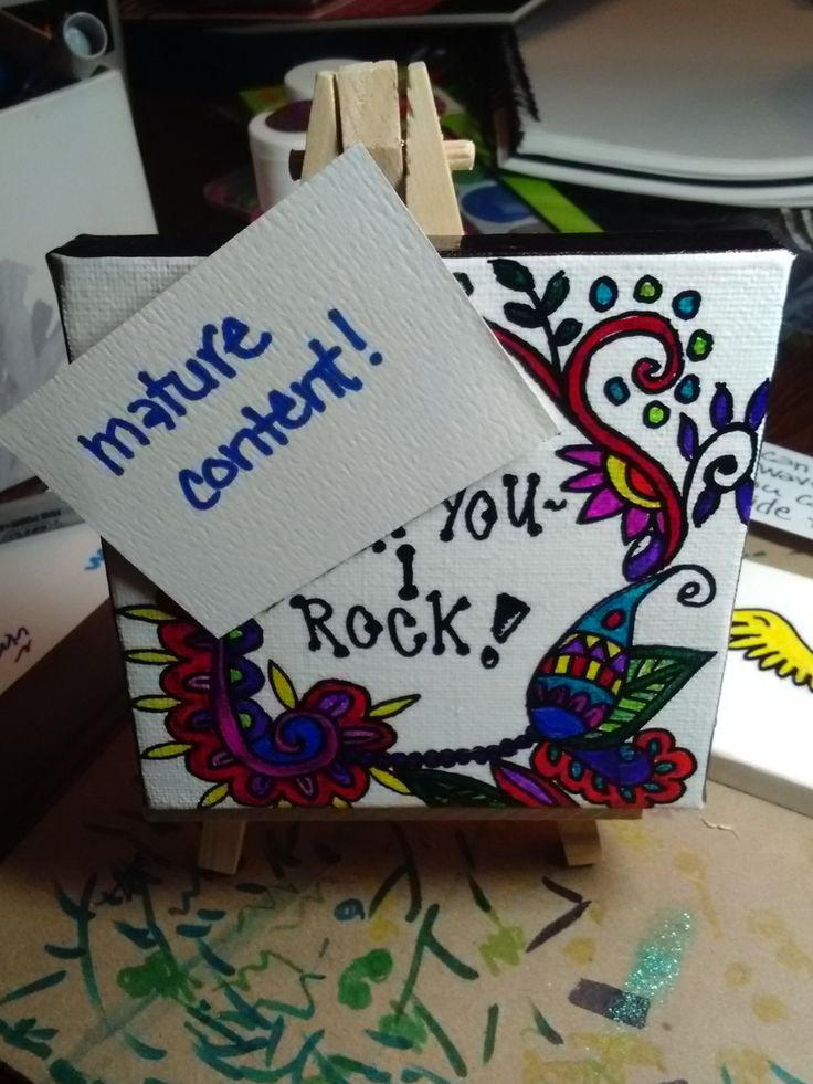 mature content, affirmation painting, I Rock affirmnation, positive thinking canvas, marker art by SeaMySoul on Etsy