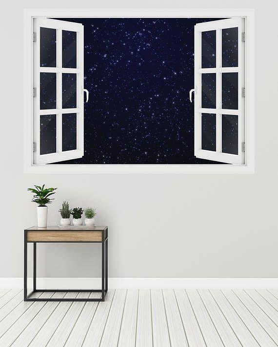 3d window stars on dark blue sky, wall decal vinyl, 3d wall art