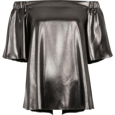 River Island Womens Silver metallic bardot top