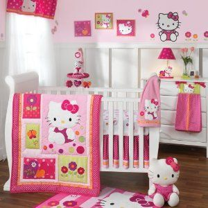 I LOVE this Hello Kitty crib set for the baby's room!   Every little girl should be cuddled with Hello Kitty...you're never to old or to young to love the HK!   Set comes with comforter, dust ruffle, fitted sheet, window valance and diaper stacker.