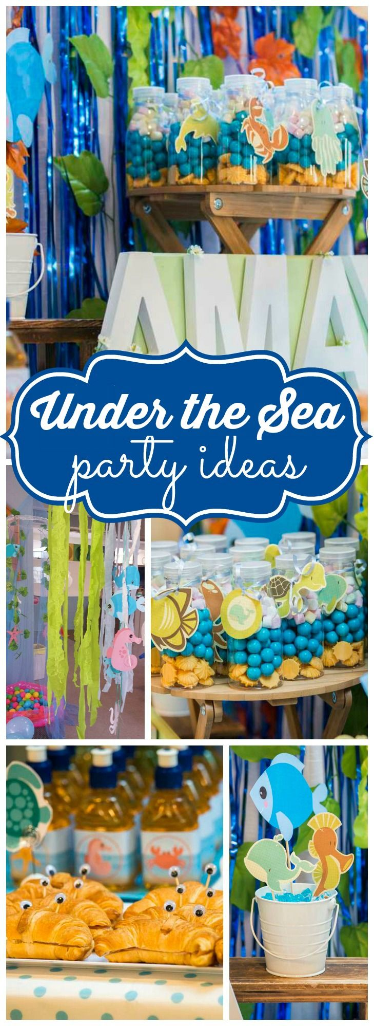 This party is a watery wonderland filled with sea creatures! See more party ideas at CatchMyParty.com!