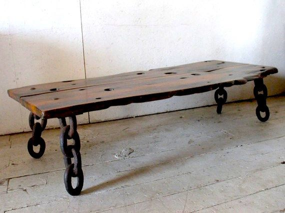 antique slab wood iron leg coffee table artisan shipwreck coffee table bench made from wood and anchor chain from a great lakes ship - How To Ship Furniture