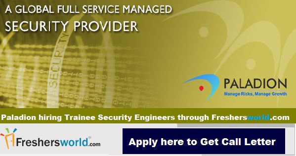 Eligibility : BE/B.Tech(CSE, EEE, ECE, IT, ICE, Electronics & Instrumentation) from 2014 Batch  APPLY NOW : http://www.freshersworld.com/jobs/paladion-hiring-trainee-security-engineer-in-bangalore-108335?src=FW-FB  Last Date : 09 Jan 2015