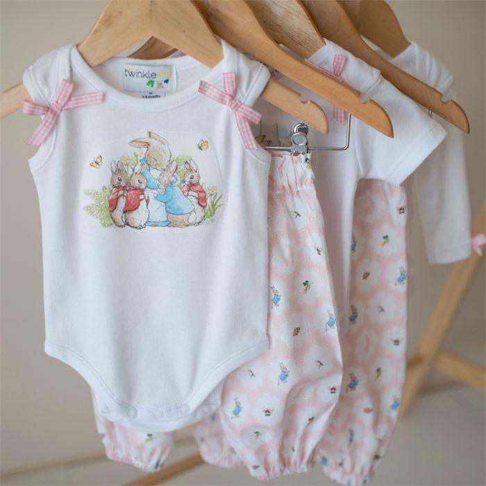 "Easter harem set Size 000 ""Peter Rabbit"" Pastel Pink Rabbit Applique bodysuit | Twinkle Star | madeit.com.au"