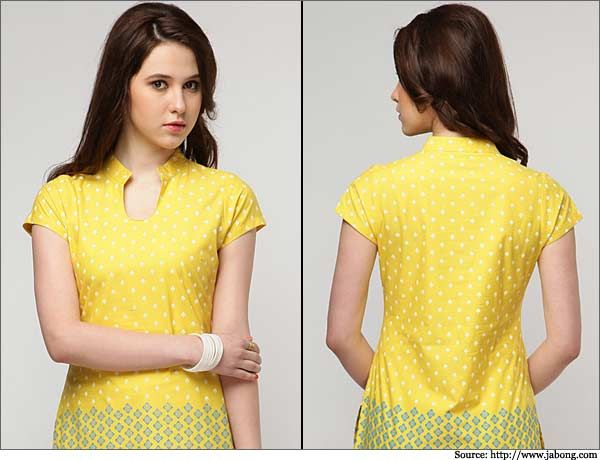 Printed-Yellow-Cotton-Kurta-Churidar Neck Designs