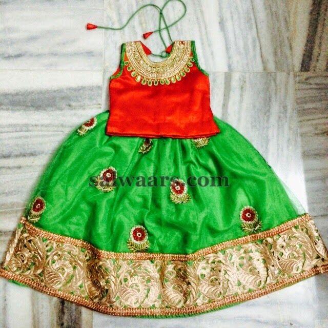 Kids Floral Lehenga High Neck Blouse | Indian Dresses