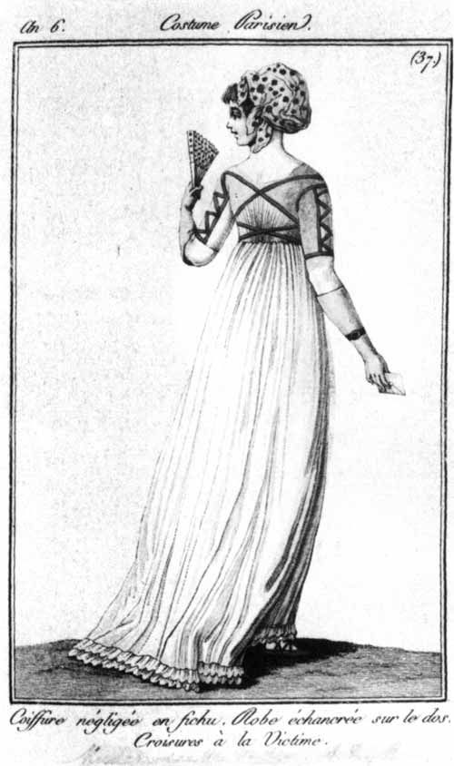 Merveilleuse- aka the marvelous ones. They were women who wore long flowing trains, the sheerest fabrics, and necklines cut in extreme cases to the waistline along with huge exaggerated jockeylike caps.